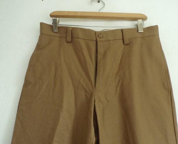 80s LL Bean Tan Wool Pants Mens Size 32 Waist, Ta… - image 3