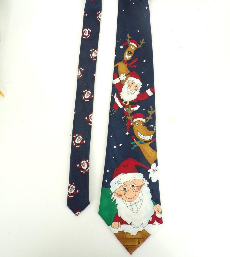 2c9b2dd344179 90s Santa Reindeer Christmas Mens Tie Mens Necktie Ugly