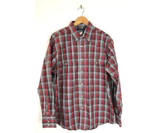 Vintage Wrangler Red & Gray Plaid Western Shirt Me