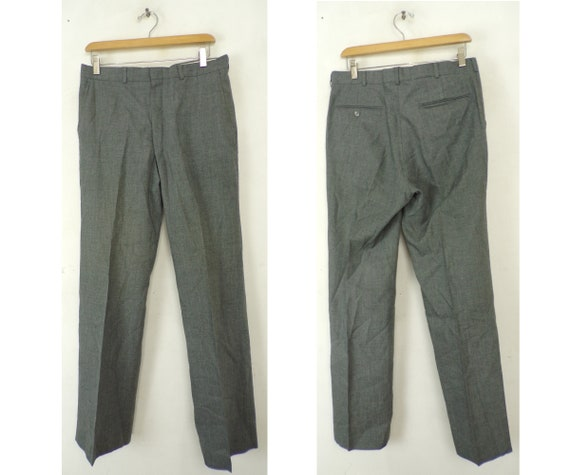 Vintage Gray Dress Pants Mens 32 Waist, Gray Dress