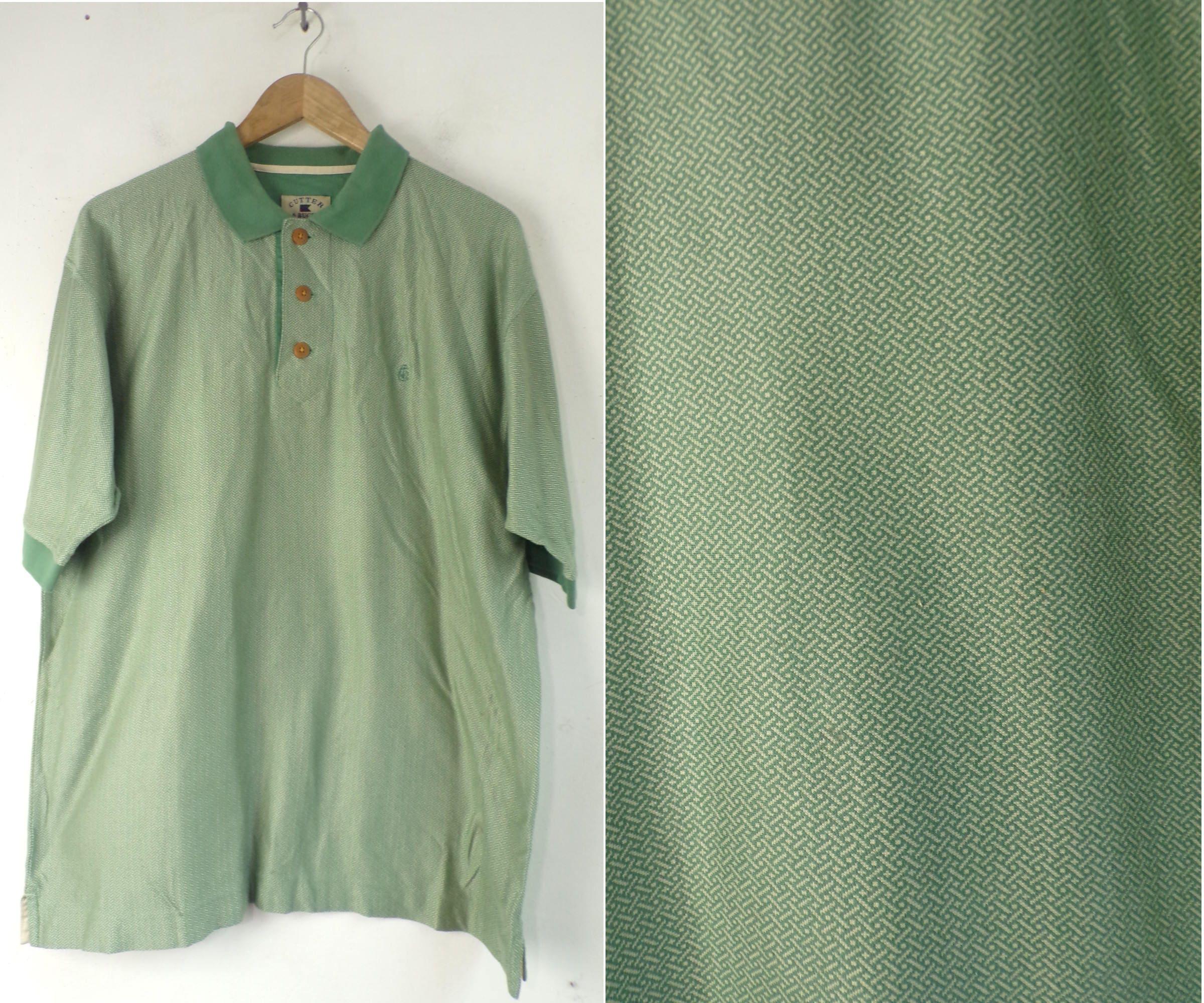90s Green Printed Polo Shirt Mens Medium Cutter Buck Mens Etsy