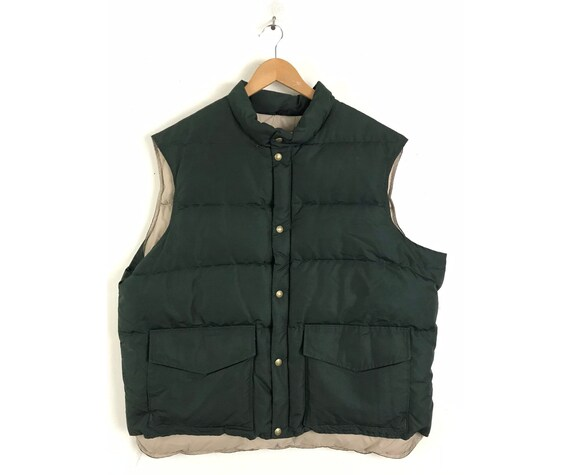 Vintage 1960s Mens Puffer Vest, Woolrich Dark Gree