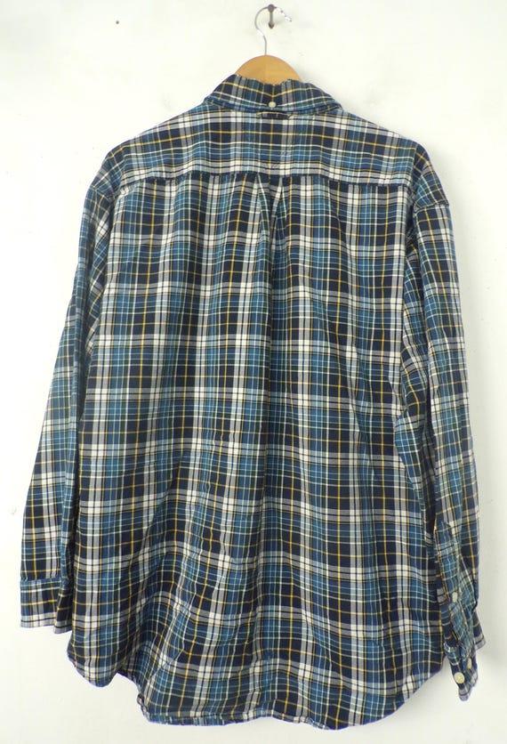 Vintage Mens Tommy Shirt, 1990s Hilfiger Blue Pla… - image 7