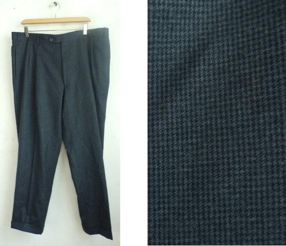 Vintage Jos A Bank Black & Blue Tweed Pants Mens 4