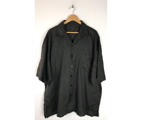 Vintage Black Linen Shirt Mens 3XL, Black Short Sl