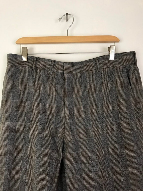 1970s Gray Red & Gold Plaid Cropped Pants Mens Si… - image 3