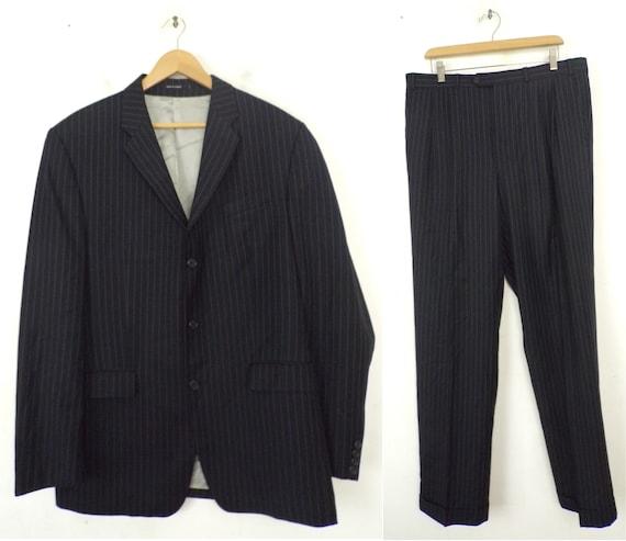Vintage Black White Pinstriped Two Piece Suit Mens
