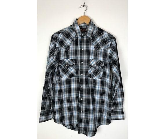 Vintage Black & Blue Plaid Western Shirt Mens Smal