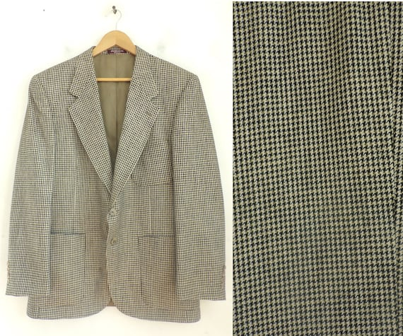 80s Black Gold & Cream Tweed Sport Coat Mens Size