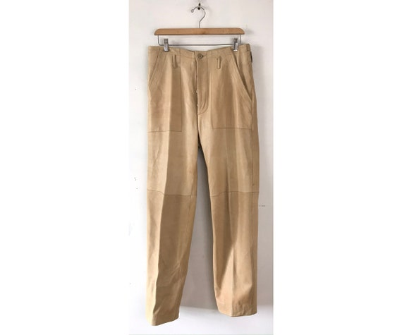 Vintage Mens Beige Leather Pants ,Leather Size 32