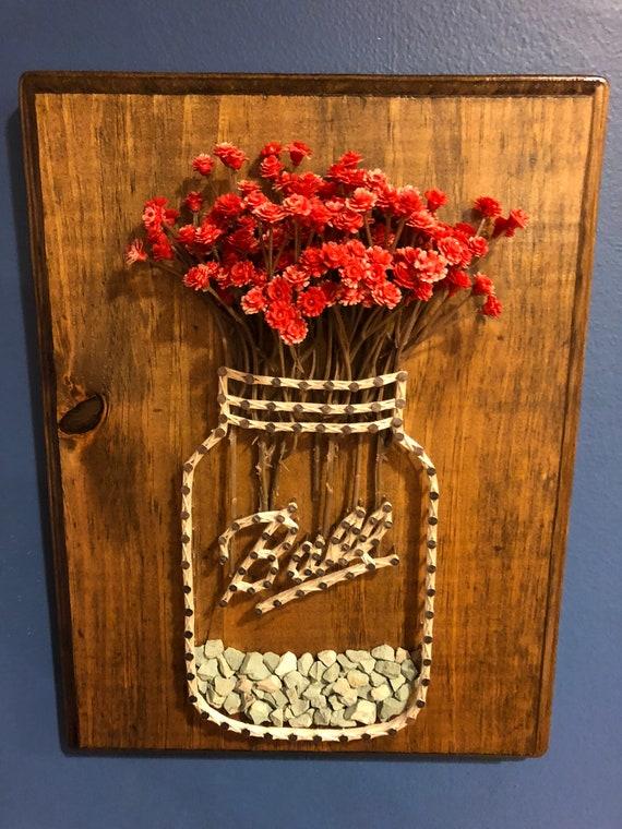 Flower Ball Jar String Art Etsy
