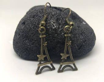 Antique Bronze Eiffel Tower Earrings
