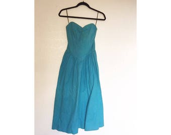 Vintage strapless teal All That Jazz dress, size 3– 100% cotton