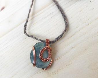 Copper Wire Wrapped Stone with Hemp Necklace (Adjustable Length)
