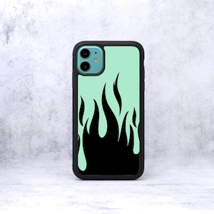 Plastic Black And Pink Flame Flames Fire Vintage Pattern Phone CaseCover For iPhone XR 11 12 Pro Samsung Galaxy Note 20 Ultra Google Pixel