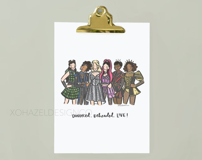 SIX the Musical Illustration Wall Art Print