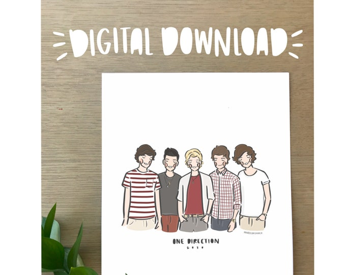 One Direction 2010 Illustration Print - Printable