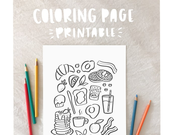 Breakfast Coloring Page - Printable
