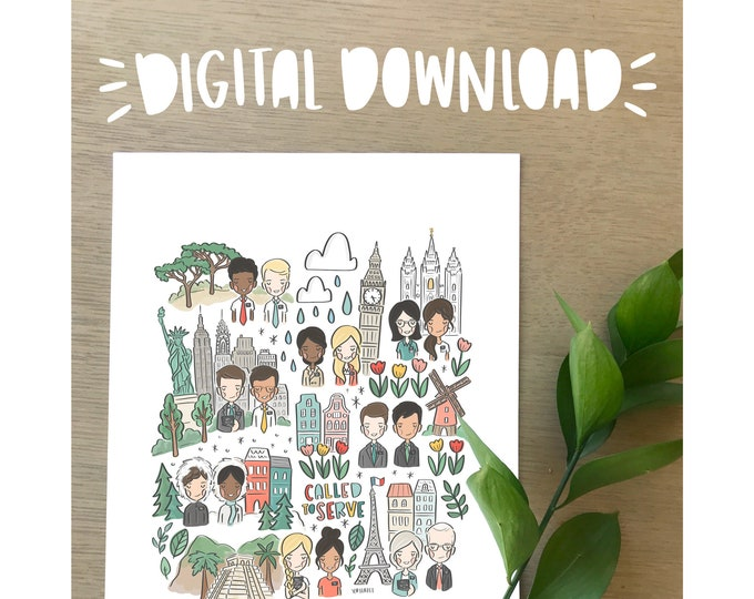 Called to Serve- LDS Missionary Illustration Print- DIGITAL DOWNLOAD