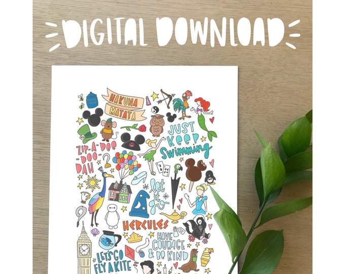 Disney Illustration Print- DIGITAL DOWNLOAD