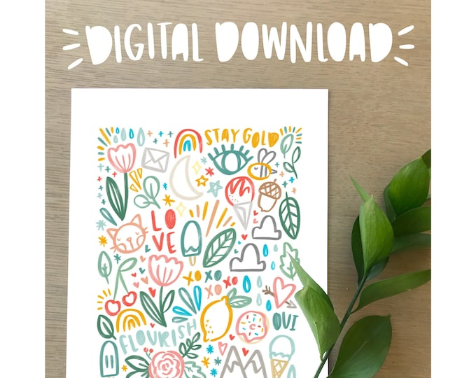 Colorful Doodles Illustration Print - Digital Download