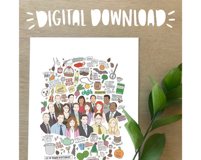 The Office Illustration Print- DIGITAL DOWNLOAD