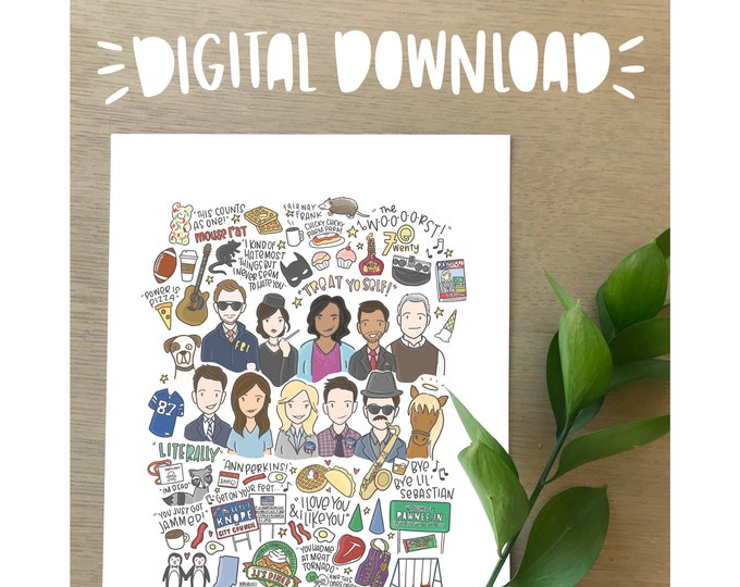 Parks & Recreation Illustration Print- DIGITAL DOWNLOAD
