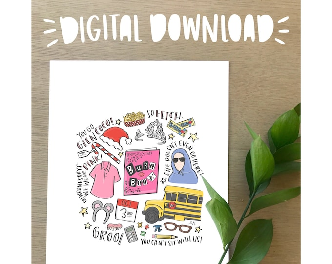Mean Girls Illustration Print- DIGITAL DOWNLOAD