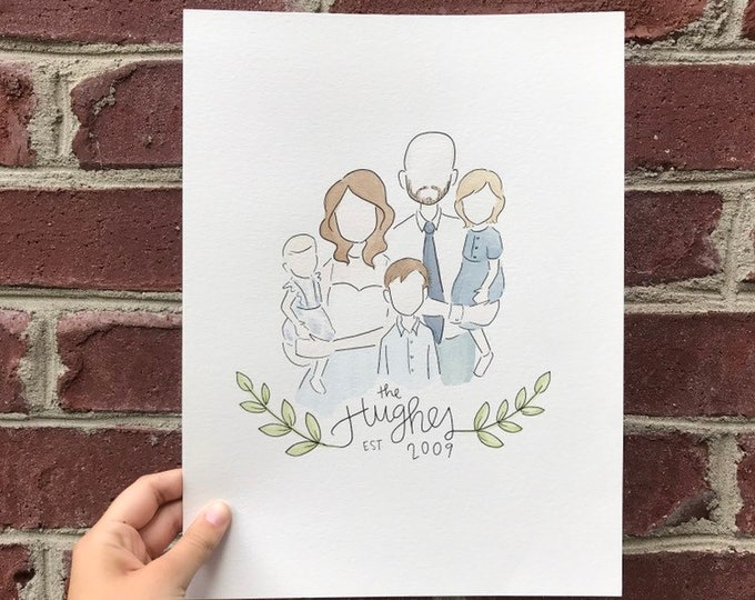 Custom Family Watercolor Portrait (Close-Up)