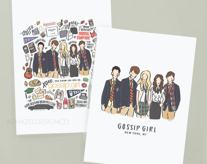 Gossip Girl Illustration/Doodle Collage Wall Art Prints