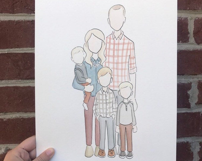 Custom Family Watercolor Portrait (Full Body)
