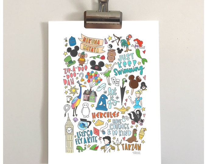 Disney Doodles Illustration Print