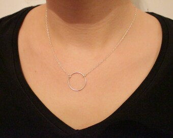 Necklace silver chain and silver ring