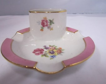 Vintage Porcelain Ashtray Matchbox Holder Flowers and Trimmed in Pink and Gold Ba'Rian Made in Germany