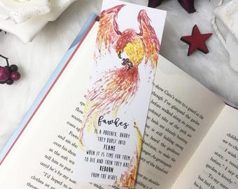 TWO-SIDED watercolor printed bookmark - Phoenix