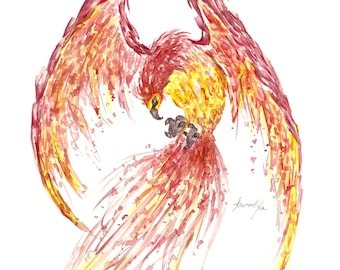 Watercolor print of Phoenix Fawkes from Harry Potter