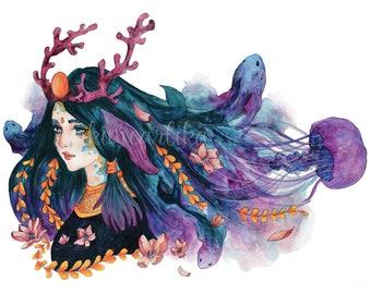 Fantasy watercolor painting/PRINT - Ocean Symphony Amatheia