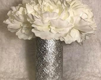 Emblem Textured Vase Vintage Wedding Centerpiece Bridal Shower Decor Engagement Party Decor Baby Shower Decor Desk Accessories Office Decor