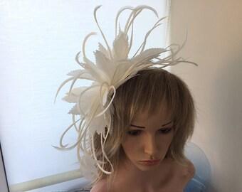 Ivory feather fascinator 050949595e8