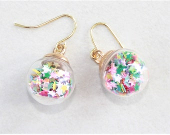 Colourful bauble ear-rings for christmas , colourful star confetti christmas ear-rings, christmas gift for her, stocking filler for her
