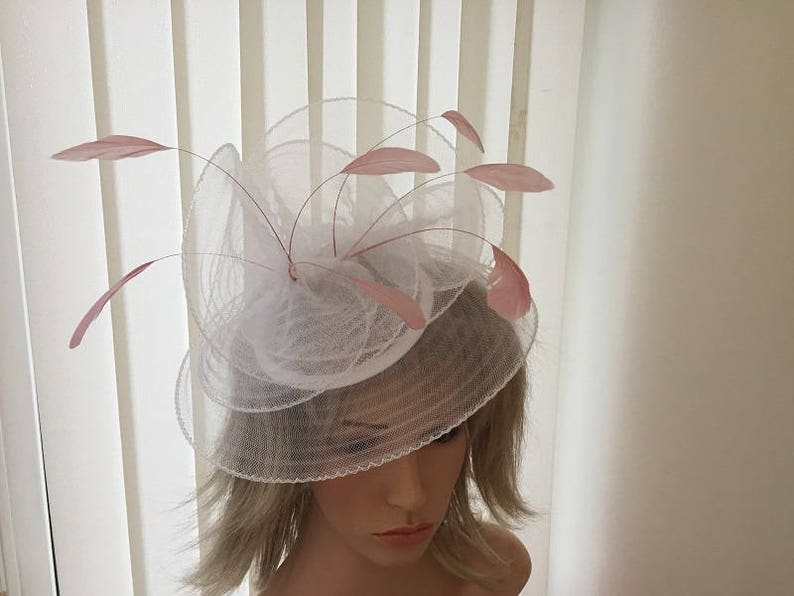 67e94e8e White & rose pink crin and feather hatinator derby ascot | Etsy