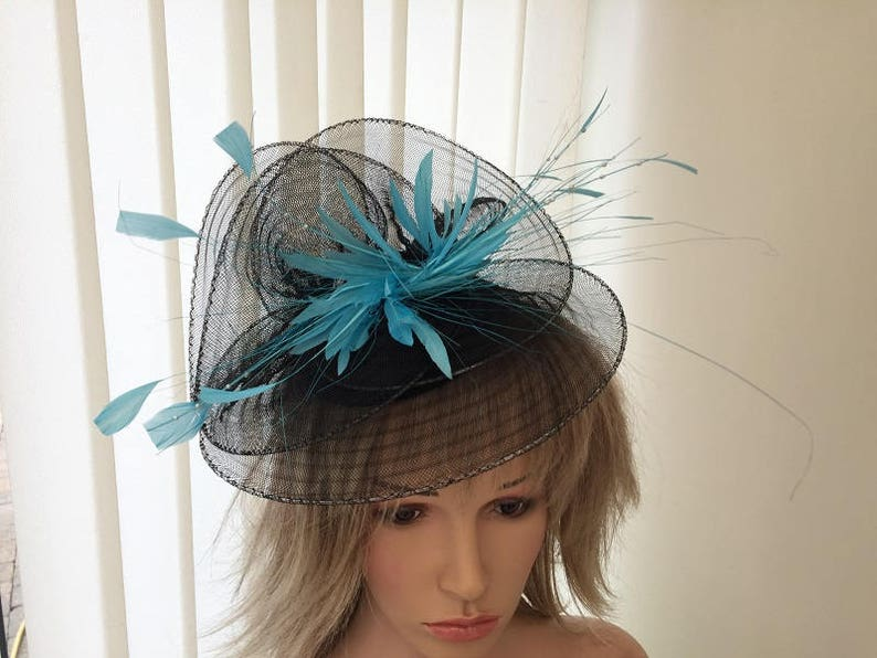 8d0bfa0f Black & turquoise crin and feather hatinator weddings | Etsy