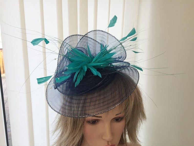 67aec3ce Navy & jade green crin and feather hatinator weddings | Etsy