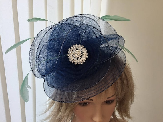 Navy   mint green crin feather hatinator large brooch  5768e053f80