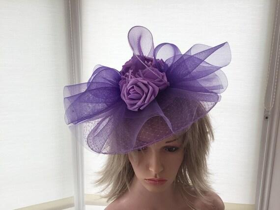 Violet crin Bandeau Bandeau Fête de mariage pièce course Ascot Bridal