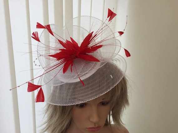 White   bright red crin and feather hatinator weddings  b4938055275