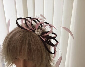 Chocolate brown and pale  pink   sinamay fascinator, hair accessories, can be custom made to match your outfit