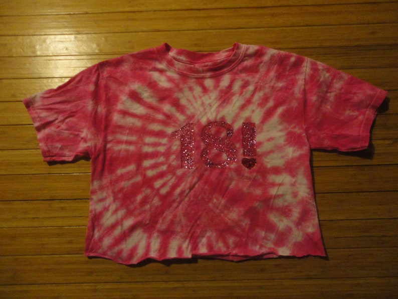 Custom Tie Dye Or Bleach Birthday Number T Shirt Crop