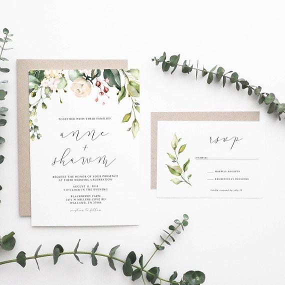 Simple Wedding Invitations: Floral Wedding Invitation Simple Wedding Invitation