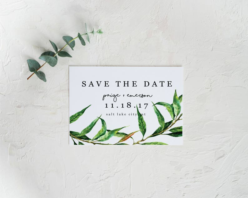 Greenery Save The Date Simple Save The Date
